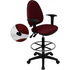 Mid-Back Burgundy Fabric Multifunction Drafting Chair