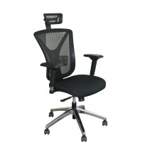Executive Mesh Chair with Black Fabric only with Chrome Plated Base and Headrest