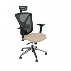 Executive Mesh Chair with Flax Fabric with Chrome Plated Base and Headrest