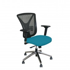 Executive Mesh Chair with Teal Fabric and Chrome Plated Base