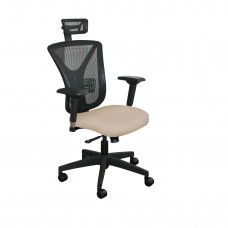 Executive Mesh Chair with Flax Fabric with Black Base and Headrest