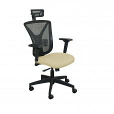 Executive Mesh Chair with Forsythia Fabric with Black Base and Headrest