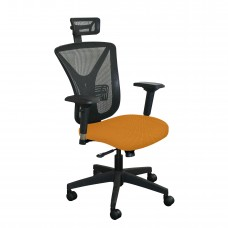 Executive Mesh Chair with Orange Fabric with Black Base and Headrest