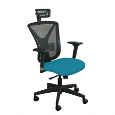 Executive Mesh Chair with Teal Fabric with Black Base and Headrest