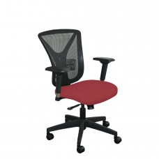 Executive Mesh Chair with Raspberry Fabric and Black Base