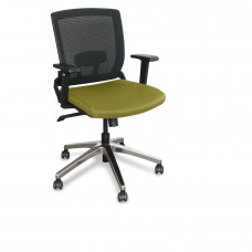 Mid-Back Executive  Mesh Chair with Fennel Fabric and Chrome Plated Base