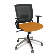 Mid-Back Executive  Mesh Chair with Orange Fabric and Chrome Plated Base
