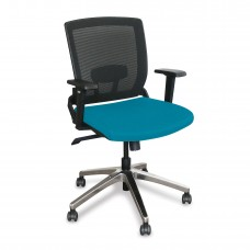 Mid-Back Executive  Mesh Chair with Teal Fabric and Chrome Plated Base