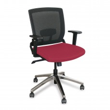 Mid-Back Executive  Mesh Chair with Raspberry Fabric and Chrome Plated Base