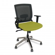 Mid-Back Executive  Mesh Chair with Lime Fabric and Chrome Plated Base