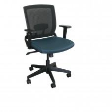 Mid-Back Executive  Mesh Chair with Iris Fabric and Black Base