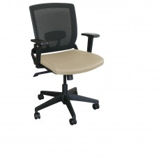 Mid-Back Executive  Mesh Chair with Flax Fabric and Black Base