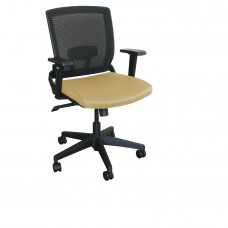 Mid-Back Executive  Mesh Chair with Forsythia Fabric and Black Base