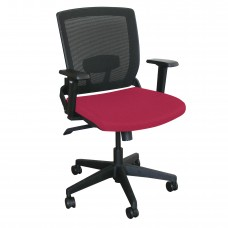 Mid-Back Executive  Mesh Chair with Raspberry Fabric and Black Base