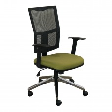 Task Mesh Chair with Fennel Fabric and Chrome Plated Base