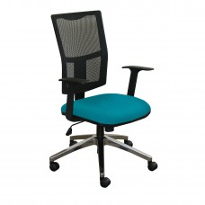 Task Mesh Chair with Teal Fabric and Chrome Plated Base