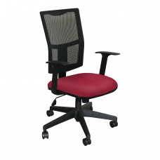 Task Mesh Chair with Raspberry Fabric and Black Base
