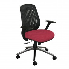 The Wave Flex-back  Chair with Raspberry Fabric and Chrome Plated Base