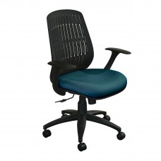 The Wave Flex-back  Chair with Iris Fabric and Black Base