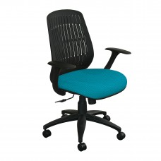 The Wave Flex-back  Chair with Teal Fabric and Black Base
