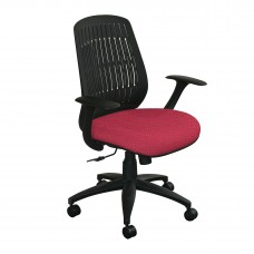 The Wave Flex-back  Chair with Raspberry Fabric and Black Base