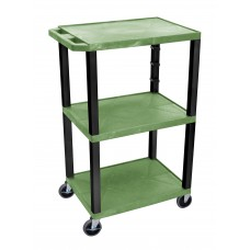 "Luxor Green Tuffy 3 Shelf 42"" AV Cart w/ Black Legs & Electric"
