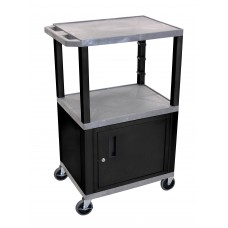 "Luxor Gray Tuffy 3 Shelf 42"" AV Cart W/ Black Legs, Cabinet & Electric"