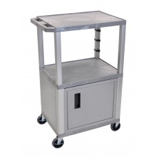 "Luxor Gray Tuffy 3 Shelf 42"" AV Cart W/ Nickel Legs, Cabinet & Electric"