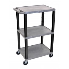 "Luxor Gray Tuffy 3 Shelf 42"" AV Cart w/ Black Legs & Electric"