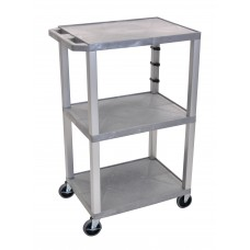 "Luxor Gray Tuffy 3 Shelf 42"" AV Cart w/ Nickel Legs & Electric"
