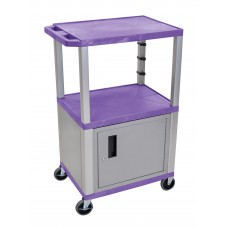 "Luxor Purple Tuffy 3 Shelf 42"" AV Cart W/ Nickel Legs, Cabinet & Electric"