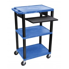 "Luxor Tuffy Blue 42"" 3 Shelf Cart W/ Black Pullout Shelf, Black Legs & Electric"