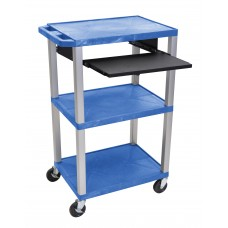 "Luxor Tuffy Blue 42"" 3 Shelf Cart W/ Black Pullout Shelf, Nickel Legs & Electric"
