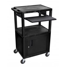 "Luxor Tuffy Black 42"" 3 Shelf Cart W/ Black Pullout Shelf ,Cabinet, Legs & Electric"