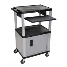 "Luxor Tuffy Black 42"" 3 Shelf Cart W/ Black Pullout Shelf & Nickel Cabinet, Legs & Electric"