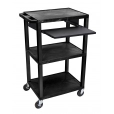 "Luxor Tuffy Black 42"" 3 Shelf Cart W/ Black Pullout Shelf , Black Legs & Electric"