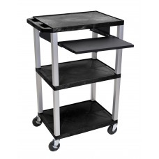 "Luxor Tuffy Black 42"" 3 Shelf Cart W/ Black Pullout Shelf & Nickel Legs & Electric"