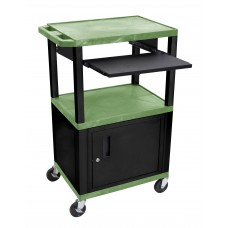 "Luxor Tuffy Green 42"" 3 Shelf Cart W/ Black Pullout Shelf ,Cabinet, Legs & Electric"