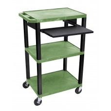 "Luxor Tuffy Green 42"" 3 Shelf Cart W/ Black Pullout Shelf, Black Legs & Electric"