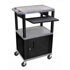 "Luxor Tuffy Gray 42"" 3 Shelf Cart W/ Black Pullout Shelf ,Cabinet, Legs & Electric"