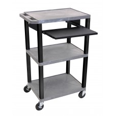 "Luxor Tuffy Gray 42"" 3 Shelf Cart W/ Black Pullout Shelf , Black Legs & Electric"