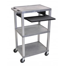 "Luxor Tuffy Gray 42"" 3 Shelf Cart W/ Black Pullout Shelf & Nickel Legs & Electric"