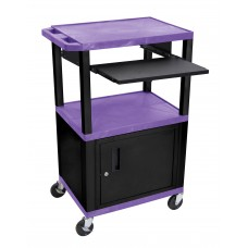 "Luxor Tuffy Purple 42"" 3 Shelf Cart W/ Black Pullout Shelf ,Cabinet, Legs & Electric"