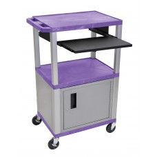 "Luxor Tuffy Purple 42"" 3 Shelf Cart W/ Black Pullout Shelf & Nickel Cabinet, Legs & Electric"