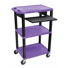 "Luxor Tuffy Purple 42"" 3 Shelf Cart W/ Black Pullout Shelf, Legs & Electric"