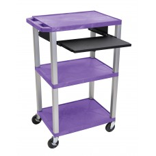 "Luxor Tuffy Purple 42"" 3 Shelf Cart W/ Black Pullout Shelf & Nickel Legs & Electric"