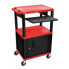 "Luxor Tuffy Red 42"" 3 Shelf Cart W/ Black Pullout Shelf ,Cabinet, Legs & Electric"