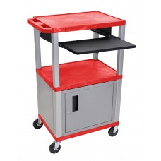 "Luxor Tuffy Red 42"" 3 Shelf Cart W/ Black Pullout Shelf & Nickel Cabinet, Legs & Electric"