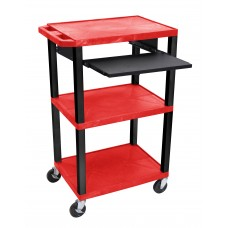 "Luxor Tuffy Red 42"" 3 Shelf Cart W/ Black Pullout Shelf, Legs & Electric"