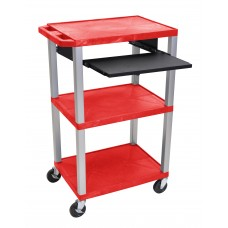"Luxor Tuffy Red 42"" 3 Shelf Cart W/ Black Pullout Shelf & Nickel Legs & Electric"